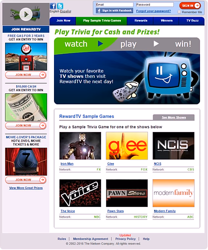 screenshot of RewardTV trivia site